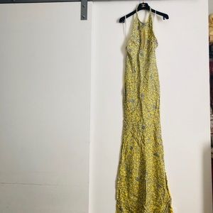 Holt Miami Yellow Hand Painted Ball Gown Dress new